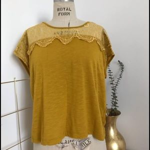 Yellow tee with lace detail